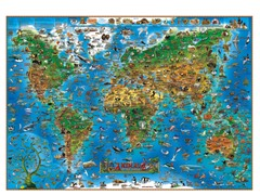 Illustrated Animals of World Wall Map