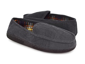 Men's Corduroy Moccasin, Grey/Flannel