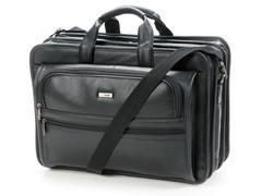 "15.6"" Leather Laptop Briefcase - Black"