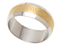 2-Tone Stainless Steel Greek Ring