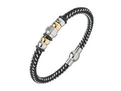 Black & Silver Braided Wire Bracelet