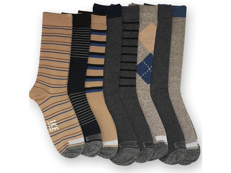 Ike Behar Men's 8-PK Pattern Crew Socks