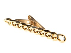 Polished 14K Gold Plated SS Curb Link Tie Clip