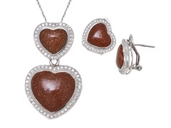 Goldstone Gemstone Earrings & Pendant