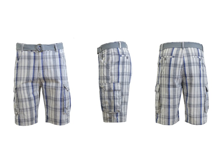 GBH Men's Flat Front Belted Cargo Shorts