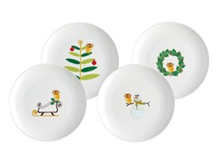 "Holiday Hoot 8"" Dessert Plates-Set of 4"