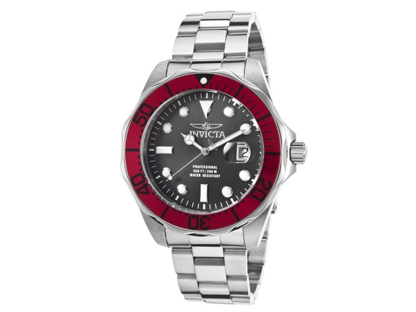 Invicta men 39 s pro diver red bezel bracelet watch for Men decagonal bezel bracelet