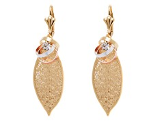 18k Plated Tri-Color Hanging Leaf Earring