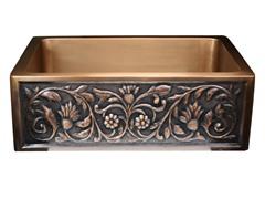 Undermount Copper Flower Apron Sink