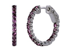 SS Rhodolite Garnet Gemstone Hoop Earrings