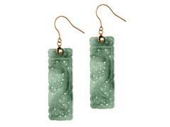 14kt Hook, Rectangle Jade Panel Earrings
