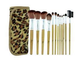 12-Pc Make-Up Brush Set with Leopard Pouch