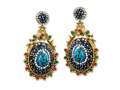 18K Plated Turquoise & Copper Earrings