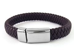 Fancy Black Genuine Braided Leather Buck Bracelet