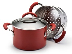 3 Qt Sauce w/Steamer Insert Red