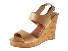 Carrini Double Strapped Wedge Sandal, Beige/Beige