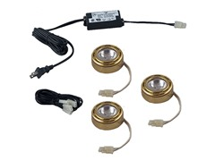 3-Light Halogen Puck Kit, Brass