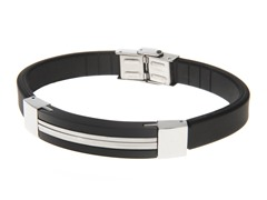 Black Ion Plated Steel & Rubber Bracelet