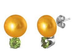 Freshwater Gold Pearl & Peridot Earrings