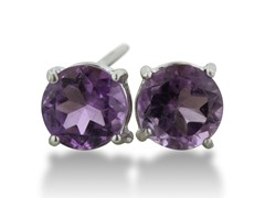 2ct Purple Amethyst Earrings In Sterling Silver