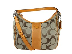 Coach Signature Stripe Convertible Hobo,Kh/Yel