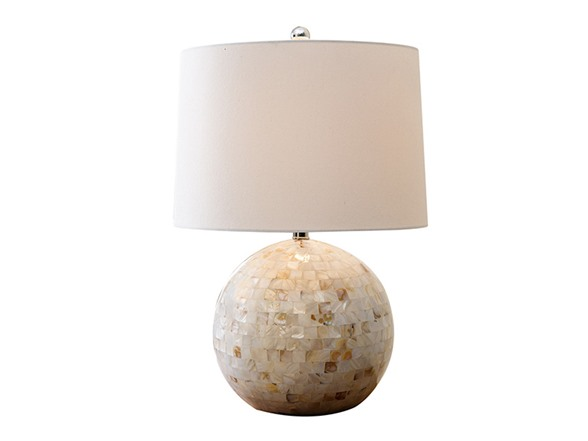 Mother Of Pearl Mosaic Round Table Lamp