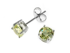 Sterling Silver, 6 mm Green CZ Earrings