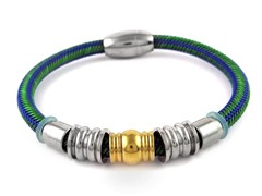Green & Blue Braided Wire Magnetic Bracelet
