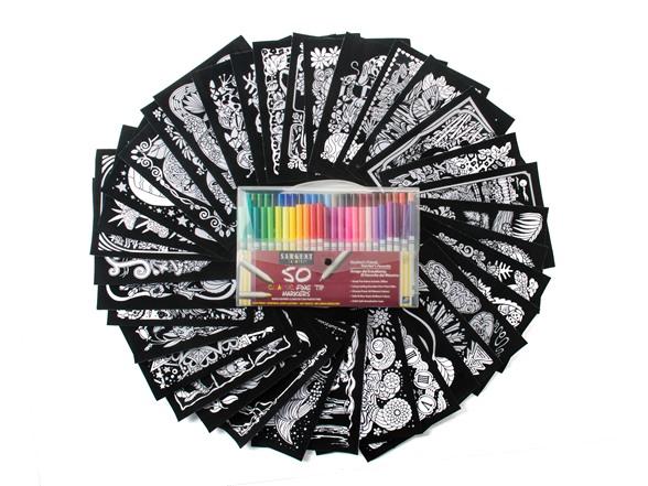 36 Velvet Art Posters + 50-Pack of Markers