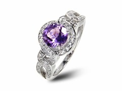 SS Amethyst & White Topaz Halo Ring