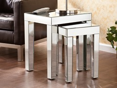 Optica Mirrored Nesting Accent Table 2pc Set