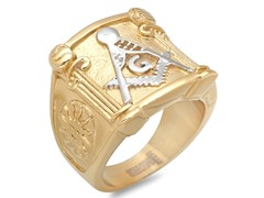 18kt Plated Two-Tone Masonic Ring