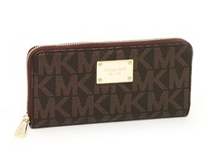 Michael Kors Logo Zip Continental PVC Wallet, Brown