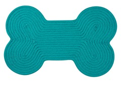 Turquoise Dog Bone Solid Rug - 3 Sizes