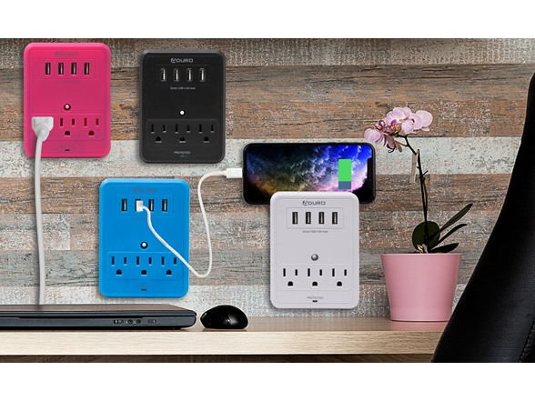 Image of Aduro Surge Multi Charging Station 3 Outlets & 4 Usb