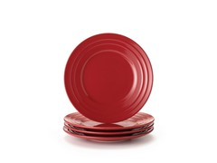 Red Salad Plates Set of (4) 8""