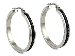 Stainless Steel Black CZ Hoops