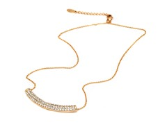 Gold/White Swarovski Elements Bar Shape Pendant Necklace