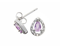 Sterling Silver Amethyst Gemstone w/Diamond Studs