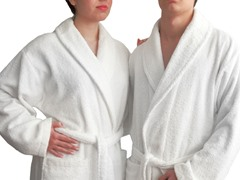 Unisex Terry Cloth Bathrobe-White
