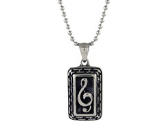 Oxidized SS Music Note Dogtag Pendant