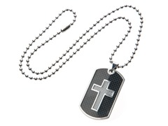 Stainless Steel Dog Tag w/ Carbon Fiber Cross