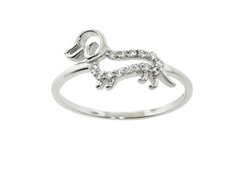 Sterling Silver Pave Daschund Dog Ring