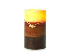 3 LED Mottled Wax Flameless Candle Layered Cream 4x7