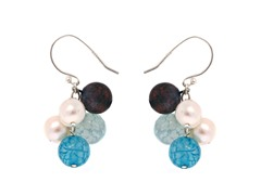 SS Agate & Freshwater Pearl Earrings