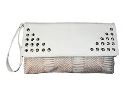 Spiked Snake Clutch Bag, White and Cream