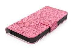 Happy Flip Case for iPhone 5 - Bright Pink