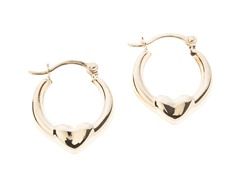 14kt Gold Puffed Heart Hoop Earrings,Gold