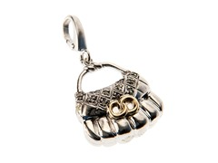 14Kt Gold, SS, Diamond Hand Bag Charm