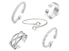 5 Pack Sterling Silver Bangles